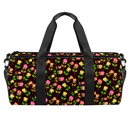 Bolsa de viaje para la playa, grande, para gimnasio, con diseño de rosas y flores, con bolsillo seco y mojado.