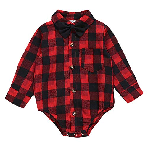 ROMPERINBOX Infant Flannel Buffalo Plaid Baby Shirt Short Long Sleeve Button Down Cardigan Boy Girl Outfit Bodysuit (Black Red Plaid Long Sleeve Shirt, 9-12 Months)