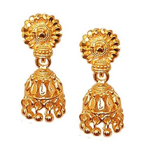 Pahal - Pendientes de jhumka chapados en oro, diseño de Bollywood de la India (diseño 1)