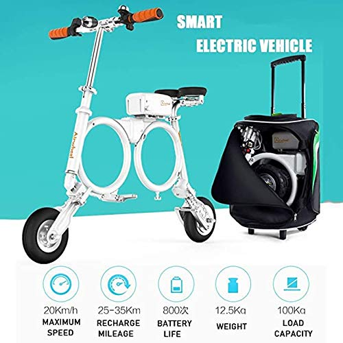 XTD Airwheel E3 Folding Electric Scooter - Lightweight Compact 20 Km/h Adult Lithium Portable Electric Vehicle Scooter Bearing Weight 100KG - For Office Workers White-474 * 399 * 374MM