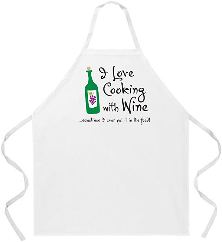 Attitude Aprons Fully Adjustable I Love Cooking With Wine Apron Natural