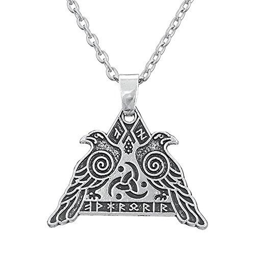 Lemegeton - Collar con colgante de cuervo de Odín, para hombre, runas nórdicas, joyería vintage para vikingos