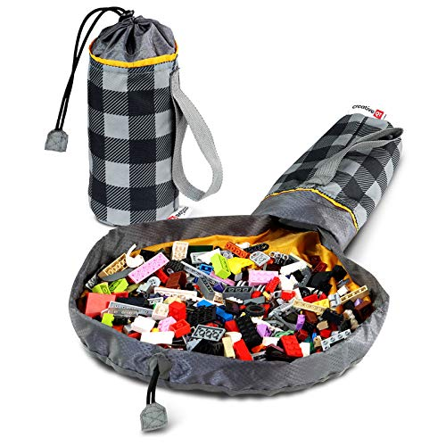 Creative QT SlideAway On-The-Go Mini Toy Storage Bag and Play Mat – Available in Multiple Patterns – Buffalo Check Toy Bag