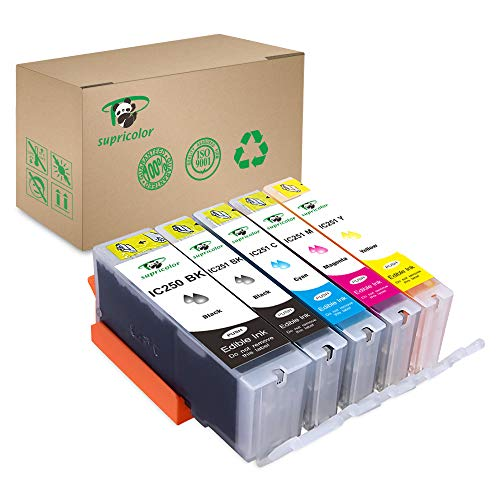 Supricolor PGI-250XL CLI-251XL Ink Cartridges for Bakey, Replament Ink Cartridges 250 XL and 251 Compatible with Pixma MX922 MG6420 MG6620 Cake Printers 5 Pack
