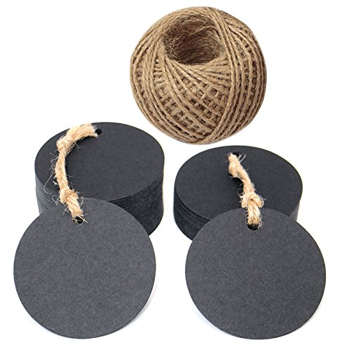 Round Tags,100 PCS Gift Tags,5.5 cm Black Labels with Free 30 Meters Jute Twine for Crafts Hang Tags, Price Tags, DIY Tags