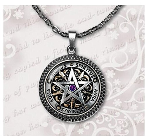 Wiccan Protection Necklace black magick Pagan Pentagram Jewelry Glass Dome Pendant Necklace (3)