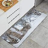 Alfombra de Cocina, Animal Europeo Lynx Wilderness Print, Impermeable Not Skid Soft Water Kitchen Mat Comfort Floor Mats Alfombras para baño Cocina Sala de Estar Sala de reuniones