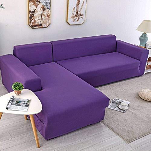 Jonist Funda de sofá Elastic Force, Escudo Universal para Muebles, Color sólido, Todo Incluido para sofá Cama al Aire Libre, Morado, Individual, 90~140 cm