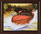 Home Cabin Décor Whimsically Boating Bears by Karen Bicknell 20x24 Speed Boat Black Bears Cubs Framed Art Print Picture