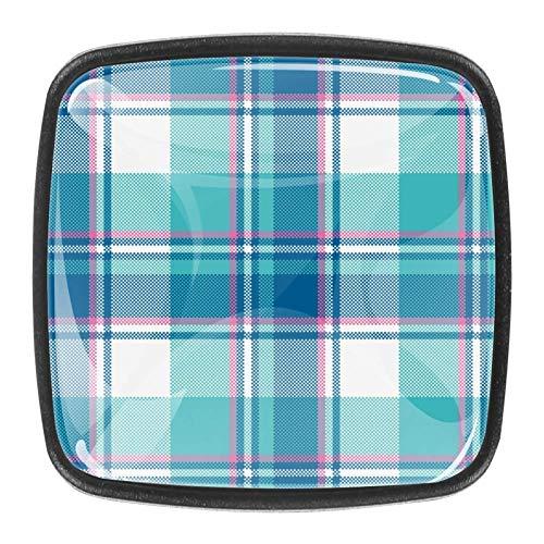 Perillas a cuadros de color azul pastel para bebé, tiradores para cocina, armario, armario, cajón de cristal, perillas para armario, armario de baño, 4 piezas, tocador de níquel satinado