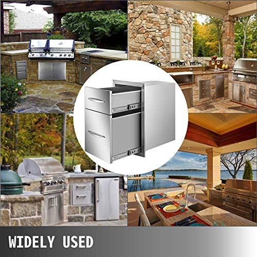 """Mophorn Outdoor Kitchen Drawers 13"""" W x 20.5"""" H x 21"""" D, Flush Mount Double Access BBQ Drawers with Stainless Steel Handle, BBQ Island Drawers for Outdoor Kitchens or BBQ Island Patio Grill Station"""