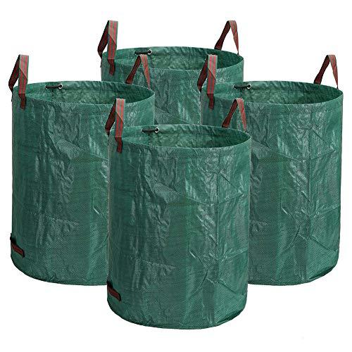 SYLC 4er Gartensack Professional Gartenabfallsack Aus Robuste PP, Selbststehend Und Faltbar, Abfallsäcke Für Gartenabfälle Laub Rasen Pflanz Grünschnitt (50L(D-45cm H-32cm))