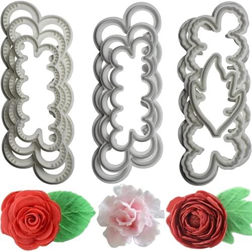 3 Sätze Backkuchen Dekoration Blütenblattform, Rose/Nelke/Pfingstrose Fondant Kuchen Druck- und Schneidform, Keksform