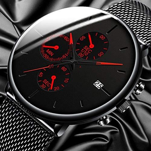 Guapo Reloj de caballero elegante brillante, reloj de moda para hombres Cinturón de malla de acero inoxidable Calendario Deporte relojes deportivo Reloj casual de negocios para hombre reloj HOMME Relo