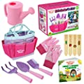 """Kids Gardening Tools - includes Sturdy Tote Bag, Watering Can, Gloves, Shovels, Garden Stakes, and a Delightful Children's Book""""How to"""" Garden Tale - Kids Garden Tool set for toddler age on up."""