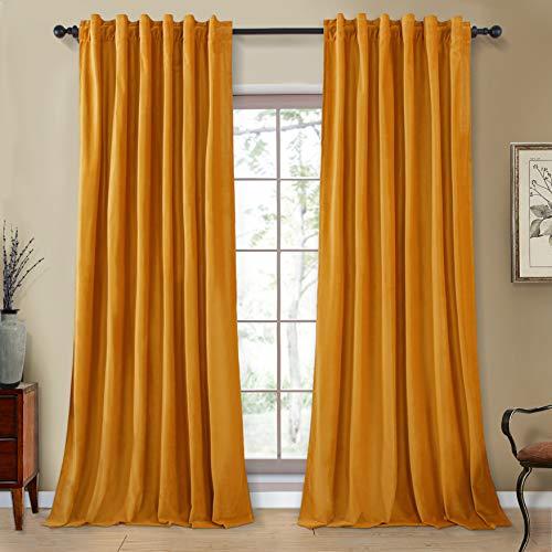 Topfinel Room Darkening Velvet Curtains 84 Inches Long Rod Pocket Back Tab Drapes for Bedroom Living Room, 2 Panels, Mustard Yellow