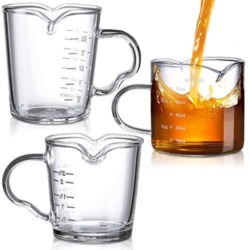 3 Pieces Double Spouts Measuring Cups Espresso Shot Glasses Triple Pitcher Barista Double Spouts Clear Glass with Handle for Milk, Espresso, Coffee