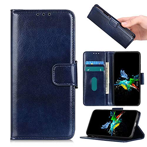 HUUH Etuis hoezen compatibel met Huawei Y8s, [kaartsleuven] [standaard] [schokabsorberende bumper] lederen flip-portemonnee telefoonhoes(blauw)