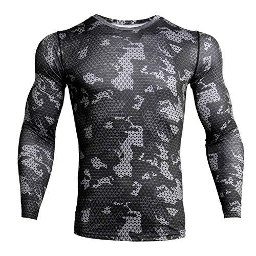 iCKER Camiseta de compresión deportiva de manga larga para hombre y niño, de secado rápido, ligera, para ciclismo, esquí, correr, senderismo