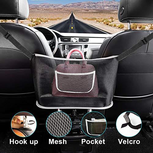 Car Net Pocket Handbag Holder,Car Seat Back Organizer Mesh Large Capacity Bag,Purse Holder for Car,Barrier of Backseat Pet Kids