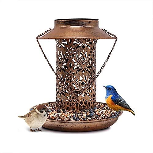 Comederos De Pájaros para El Jardín, Comedero De Pájaros para Mascotas En Forma De Casa Hexagonal, Decoración De Jardín De Madera Bandeja De Semillas para Baño De Agua Colgando