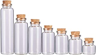 BENECREAT 21 Pack Glass Jars Bottles Decoration Bottles with Cork Stoppers for Party Favors, Arts and DIY Decorations - 7 Mixed Size