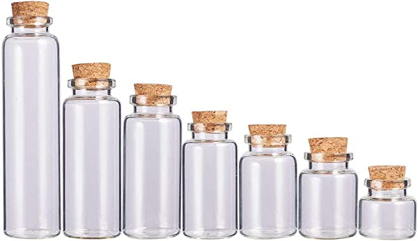 BENECREAT 21 Pack Glass Jars Bottles Decoration Bottles With Cork Stoppers For Party Favors Arts And DIY Decorations 7 Mixed Size
