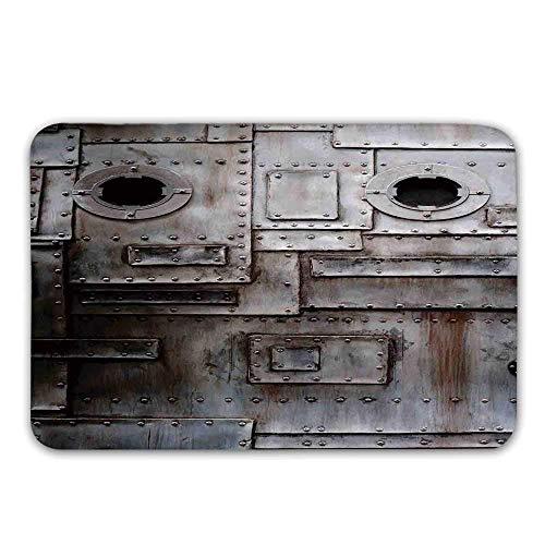 Estera Industrial para Puertas de Entrada, oxidada, estilizada, Hierro, portilla, Grunge, Rayado, Acero, fábrica, Entrada, Imagen Retro, Felpudo, para, Interior o Exterior, Estera de baño
