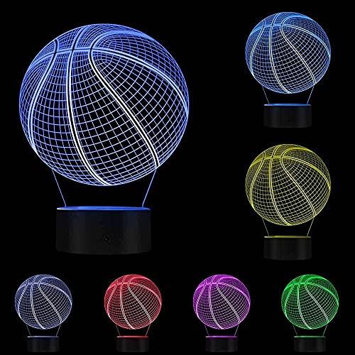 Baloncesto 3D Ilusión óptica Iluminación Arte Lámpara de luz LED Escultura Luces nocturnas Pelota deportiva Lámpara visual 3D Regalo para atleta con colores Señales de luz intercambiables Regalos pa