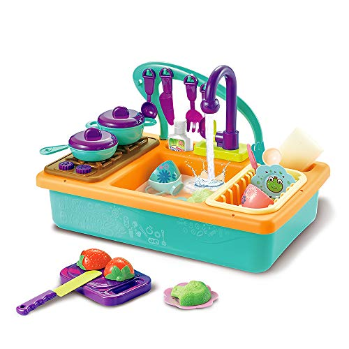 Happytime Toy Kitchen Set Play Kitchen Toy Utensils Play Dishes Accessories Plates Dishwasher Playing Toy with Running Water, Play House Backyard Pretend Role Water Toys for Kids Boys Girls
