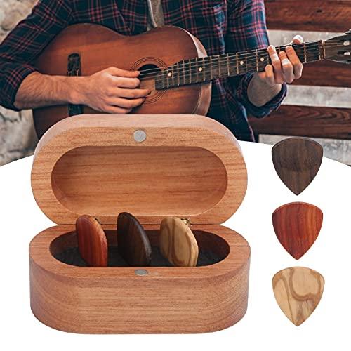 Derya Estuche para púas de Guitarra, Accesorios de Guitarra de Color Madera Caja para púas de Guitarra 3 Piezas para Guitarrista Músico Regalo para Guitarra acústica eléctrica(Box 1 + 3 Picks, Blue)