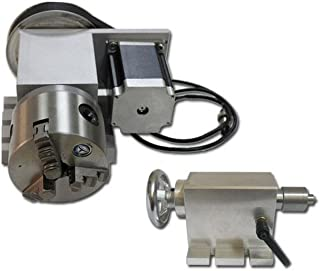 CNC 4th Axis Rotary Router Rotational Axis 3 Jaw 4 Jaw Chuck+Wood Tailstock (4 Jaw)