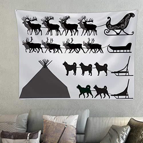 Hitecera Deer and Dog sleds - - Sled Dog,Tapestry Reindeer Room Decor 78.7'' x 59.1''(WxH)
