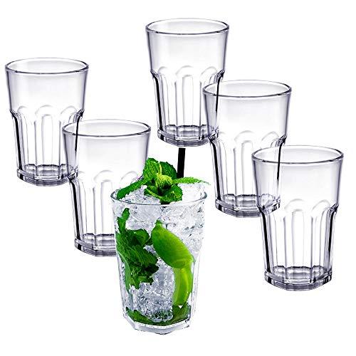 DoimoFlair Cocktailglas Graniti 35 cl aus Acryl Kunststoff Plastik Mehrwegbecher Transparent Set 6 Stück