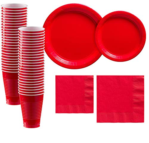 Party City Solid Red Tableware Supplies for 50 Guests, Include 2 Sizes of Paper Plates and Napkins, plus Plastic Cups