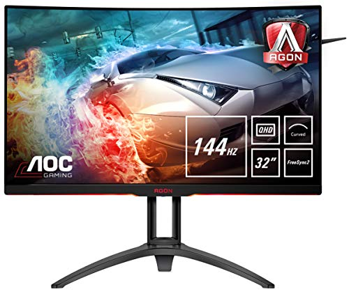 AOC Agon AG322QC4 - Monitor 32' Curvo QHD 2K (resolución 2560 x 1440 Pixeles, Contraste 2500:1, 4 ms, FreeSync 2, Flickerfree, LowBlue, Altavoces; VESA, HDMI, Displayport)