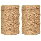 Natural Jute Twine String Rolls - 328 Feet 3 ply, Durable Brown Twine Rope for Crafts, Wrapping, Packing, Gardening, Artworks, Picture Display, Recycling, and Wedding Decor (3 mm, 2 Pack)