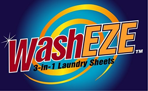 WashEZE 3-in-1 Laundry Detergent Sheet 20 Loads Scented includes fabric softener and more -Perfect for Travel, Dorm, College, Airline, Camping, Small Dwellings and RV Laundry Detergent