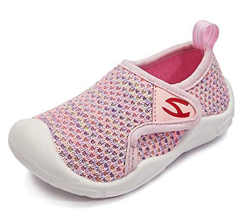 CELANDA Zapatillas de Estar por Casa para Niños Niña Zapatos de Deporte de Interior Transpirable Antideslizantes Zapatos de Punto Cómodos Suave Primeros Pasos Zapatos para Infantil Rosa 21EU