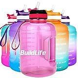 BuildLife - Borraccia motivazionale con cannuccia, 2,2 l, con indicazione del tempo per bere tutti i giorni, senza BPA, riutilizzabile, per palestra, sport, attività all'aperto, rosa chiaro, 2,2 l