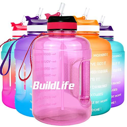 BuildLife Botella de agua motivadora de 2,2 l, con pajita y marcador de tiempo para beber diariamente, sin BPA, reutilizable, para gimnasio, deportes al aire libre (rosa claro, 2,2 L)