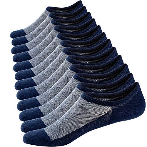 Ueither Calcetines Cortos Hombre Invisibles Respirable Calcetines tobilleros Algodón Antideslizantes (Tamaño: 44-48, Azul marino (6 Pares))