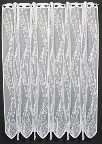 frankgardinen Scheibengardine Welle 120 cm hoch ganz weiß - Breite frei wählbar durch gekaufte Menge in 11,5 cm Schritten - Fenster Gardine Kinderzimmer Wohnzimmer