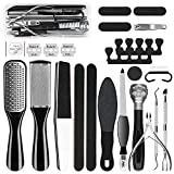 GTTVO Pedicure Kit, 23 in 1 Stainless Steel Professional Pedicure Tools Set, Foot Rasp Peel Callus Dead Skin Remover Feet Care Pedicure Kit for Women Men at Home or Salon Best Gift