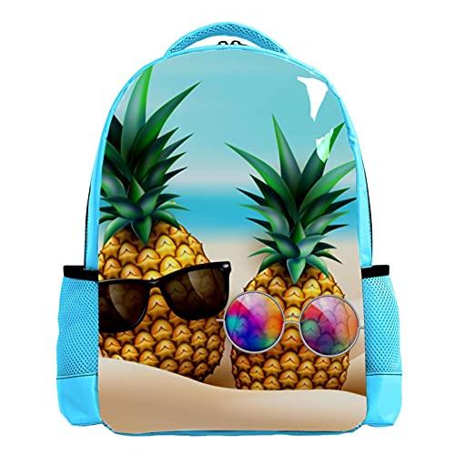 YATELI Mochila ligera para la escuela,Fruta en la playa con gafas de sol. , Mochila informal clásica básica resistente al agua para viajes con bolsillos laterales para botellas