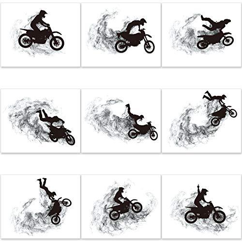 9 Impresiones de Arte de Pared de Motor Motocross Fotos de Póster de Silueta de Motocross de 8 x 10 Pulgadas Decoración de Pared sin Marco para Hombre Sala de Estar Oficina Dormitorio