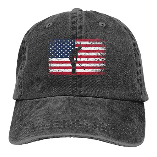 RFTGB Unisex Caps Zubehör Hüte Baseball Caps Cowboyhüte Golf American Flag 4th of July Denim Baseball Cap, Unisex Vintage Dad Hat, Golf Hats, Adjustable Plain Cap