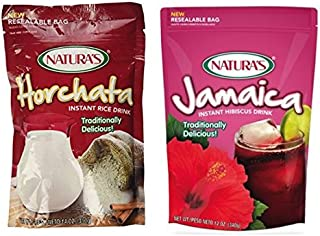 Natura's Variety Pack (1) Horchata Instant Rice Drink 14oz (1) Jamaica Instant Drink 12oz (Pack of 2)