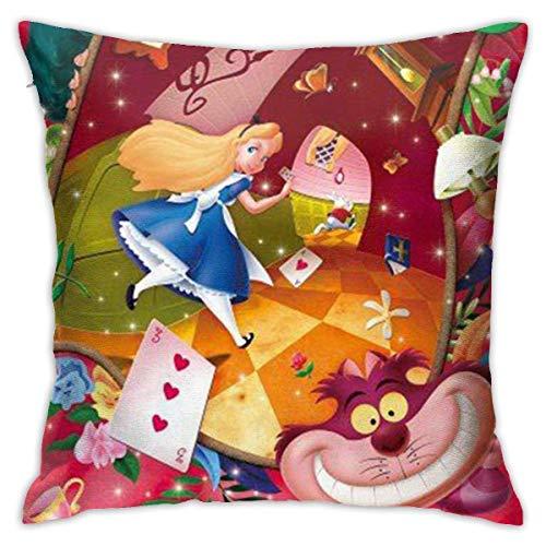 qidong Alice in Wonderland Pillowcase Covers 18x18 Decorative Sofa Car Soft