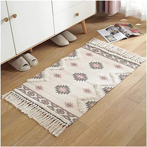 TAM88 Rechthoekige slaapkamer, zacht tapijt, landelijk gezoomd, antislip, gezellige deurmat, woonkamer, slaapkamer, decoratief tapijt